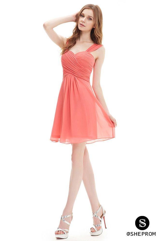 Cheap short chiffon bridesmaid dress in watermelon color. Shop with cheap  price and free shipping! b1080df21086