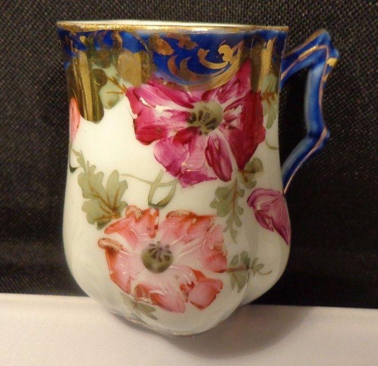 Vintage Nippon Colbalt Blue Demitasse Cup  w/ Gold Trim & Bowled out bottom HP #Nippon