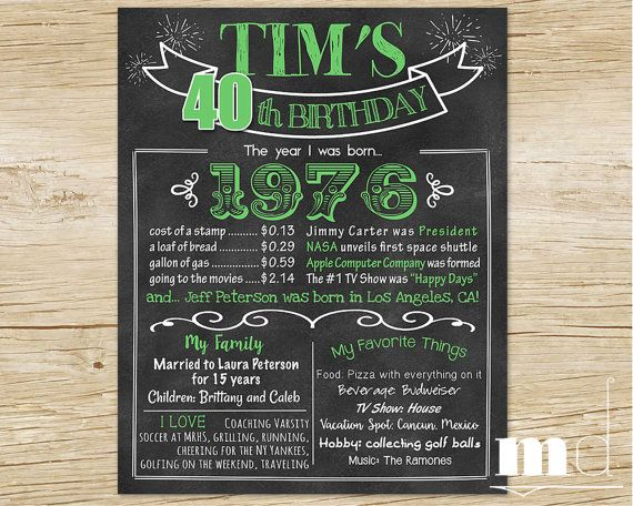 50th Birthday Chalkboard Poster, 40th Birthday Chalkboard Poster, Adult Stats Board, Green, 1976 Fun Facts, Born in 1976, 40 Years Old Gift, Turning 40 Chalk Board, PRINTABLE by MulliganDesign on Etsy