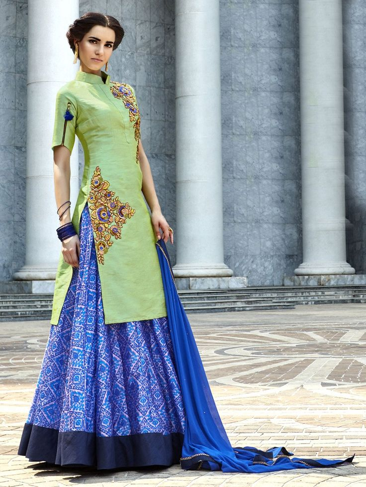 SKDAA8797A-Green-Art-Silk--Suit-with-Zari-Embroidery-Work - saree.com