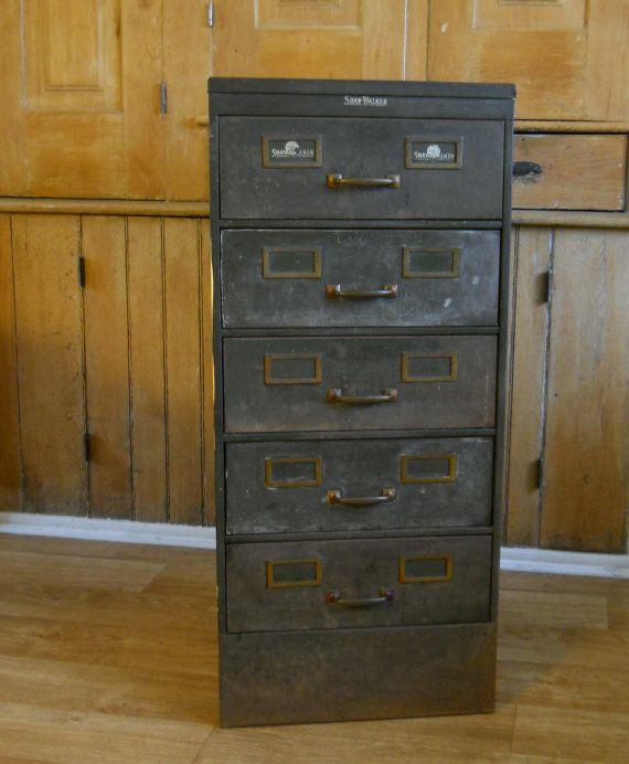 Vintage Filing Cabinet Shaw Walker Filing by lisabretrostyle2