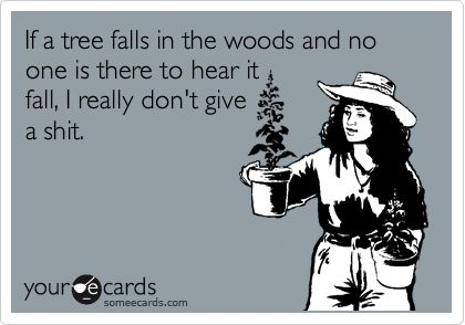 WORD....If a tree falls in the woods and no one is there to hear it fall, I really don't give a shit.