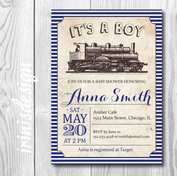 Navy Blue Vintage train Baby Shower Invitation or birthday Party invite | printable stripes baby boy template#108