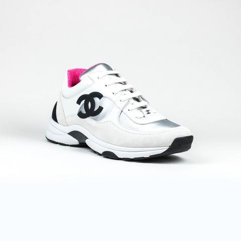 55ef9ddb2 Chanel CC Logo Suede Brown Maroon Green Sneaker in 2019