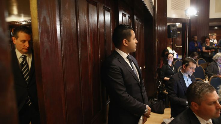 <p>Republican presidential candidate Ted Cruz waits off stage as he is introduced to speak at a U.S. Hispanic Chamber of Commerce discussion at the National Press Building on April 29, 2015, in Washington.</p>