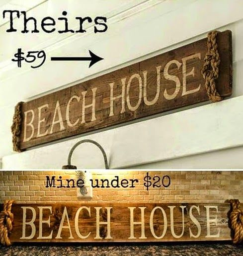 Pottery Barn Beach Wood & Rope Sign Knock off