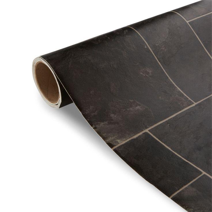 colours octavina black tile effect vinyl 4m² sheet