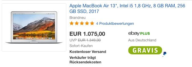 #Apple #MacBook Air 13 Zoll MQD42D/A für 1.075,00 € (statt 1.169,00 €) https://www.billigerfinder.de/computer-und-buero/1516964714146-apple-macbook-air-13-zoll-mqd42da