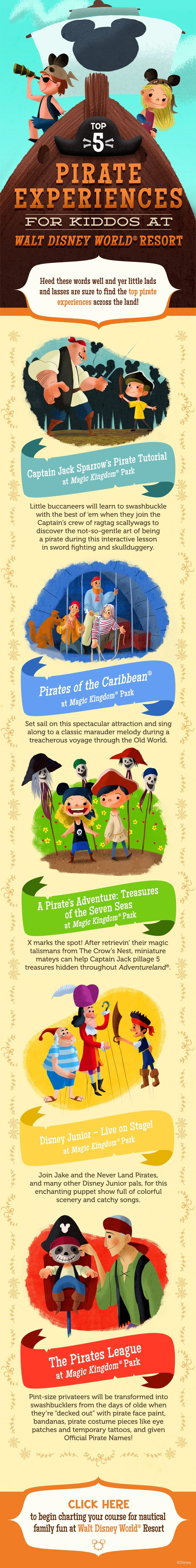 Top 5 Pirate Experiences for Kids at Walt Disney World! #vacation #tips #tricks