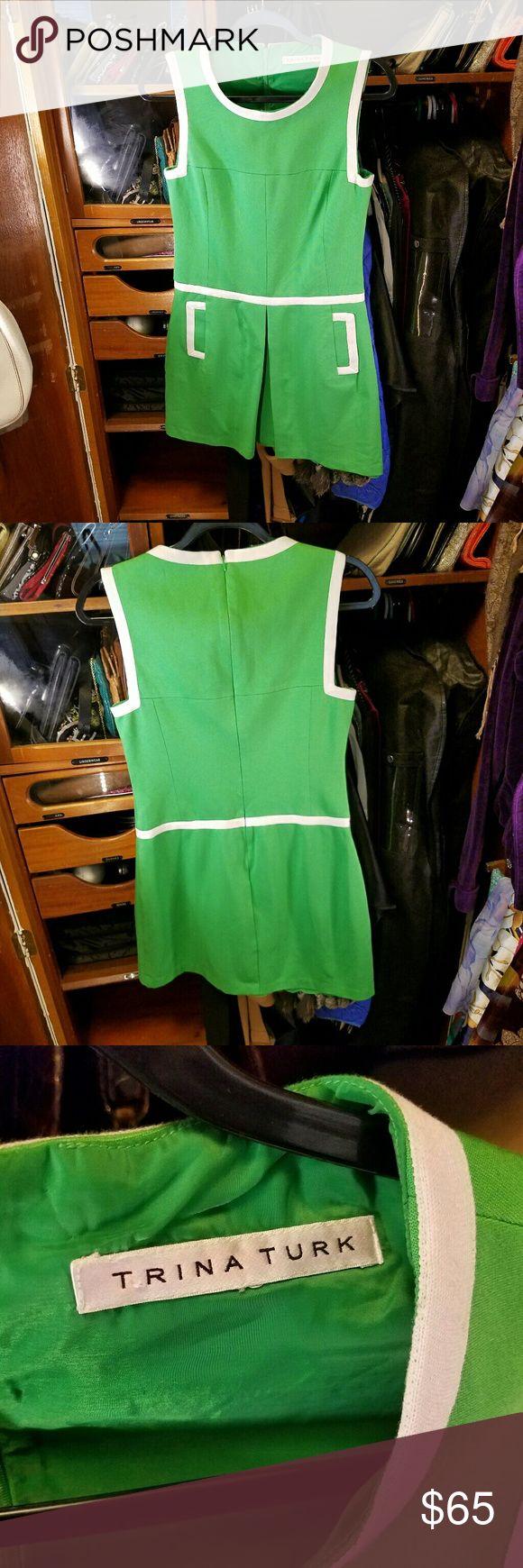 TRINA TURK little green dress Kelly Green dress with skirt pleated in the middle.  Back hidden zipper. Slotted pockets. Trina Turk Dresses Mini