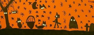 super cute halloween silhouettes...kids use a hole punch to create spooky eyes
