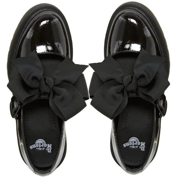 Dr Martens Mariel Bow Mary Jane Shoes (€110) ❤ liked on Polyvore featuring shoes, flats, ankle strap flats, maryjane shoes, bow flats, wide flat shoes and wide flats