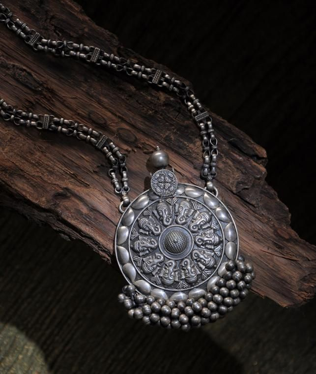 6451554864a12f Buy Argent Mystique Silver Palace Richly detailed tribal silver necklaces  for your treasure box Online at Jaypore.com