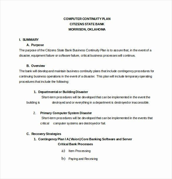 Business Contingency Plan Template Beautiful 13 Contingency Plan Templates Free Sample Examp How To Plan Business Proposal Template Business Contingency Plan