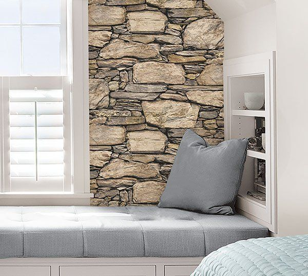 Hadrian Stone Wall Peel And Stick Wallpaper Kitchen Wallpaperfeature Wallsstone Wallskitchen Backsplashapartment Ideasapartment