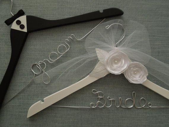 Formal Elegant Wedding Hangers for the Bride & Groom by DivineDays, $53.00
