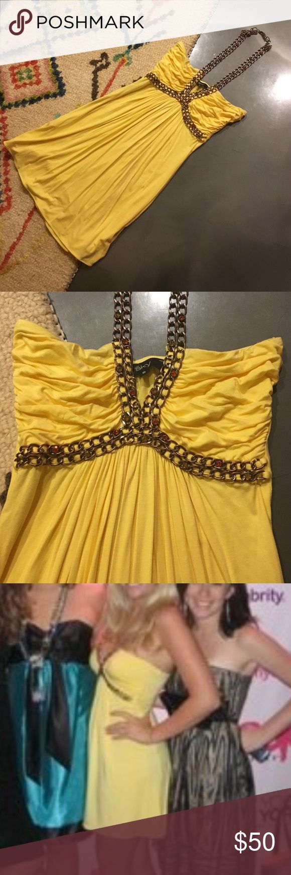 Canary yellow party dress This dress is seriously flattering on everyone! And insanely comfortable! Worn 2 times. Great condition! Fabric is sooooo soft! sky Dresses Mini