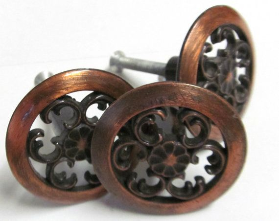 vintage copper drawer pulls hardware by thecedarchestmidland 699 cabinets in kitchen - Copper Kitchen Cabinet Hardware