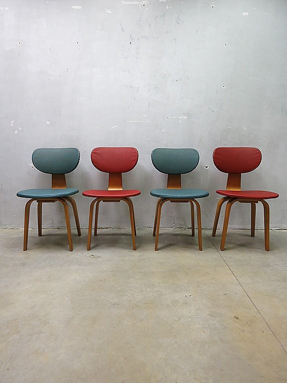 Mid century dutch design dinner chairs pastoe vintage design eetkamer stoelen - Design eetkamer ...