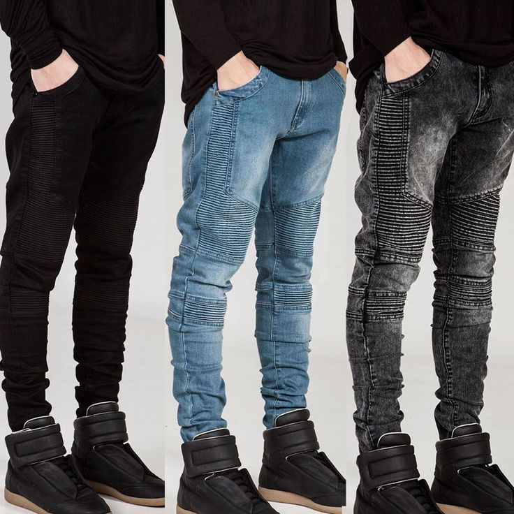Encontrar Más Jeans Información acerca de Streetwear mens ripped jeans motorista hombres homme moda moto de la…