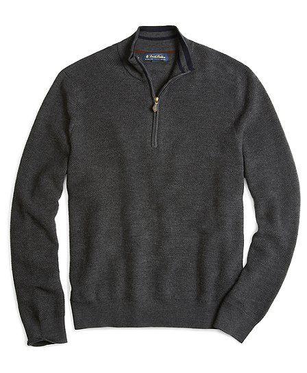 Merino Pique Stitch Half-Zip Sweater - Brooks Brothers
