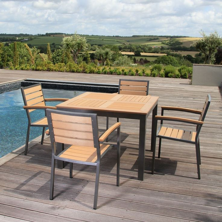 Garden Furniture Syn Teak 4 Seater Dining Teak Asian Is Made Of 4 Garden  Chairs And A Table