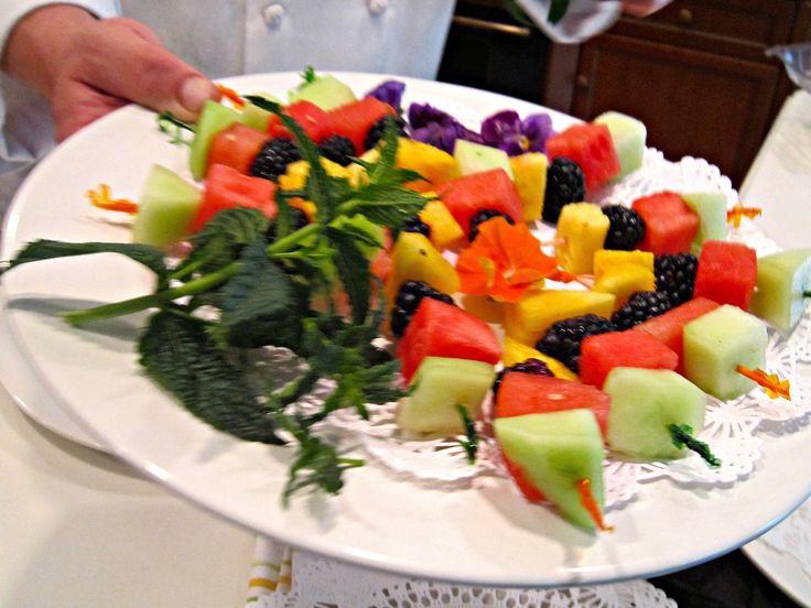 Fruit Skewers for a Hawaiian wedding