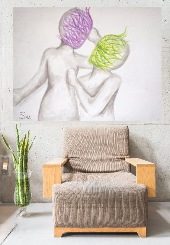 love art, Couple drawing, master Bedroom art, Romantic art, Romantic ...