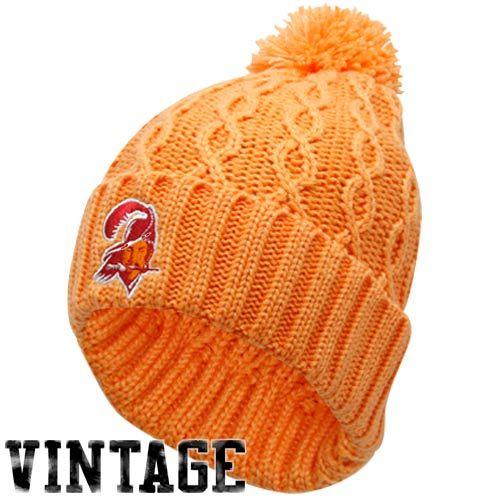 NFL Reebok Tampa Bay Buccaneers Ladies Orange Glaze Retro Cuffed Pom Cable Knit Beanie