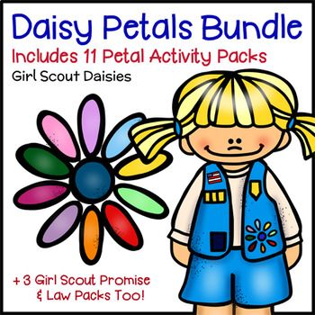 "Daisy Petals Bundle - Girl Scout Daisies - Includes 14 Activity Packs! - Girl Scout Daisies earn Petals while learning the values of the Girl Scout Law with the help of this amazing Growing Girls Scouting Helpers bundle that includes activities for Step 3 of all ten Daisy Petals. The bundle also includes activities for Step 2 of five Petals. ""Garden Friends: Girl Scout Promise Practice Pages"", ""Girl Scout Law Girls""..."