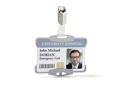 Attractive antimicrobial security pass holder with rotating clip fastening. Can be used in either portrait or landscape format and can be combined with chain, textile necklace or badge reel. Inside dimensions: 54 x 85 mm (H x W)
