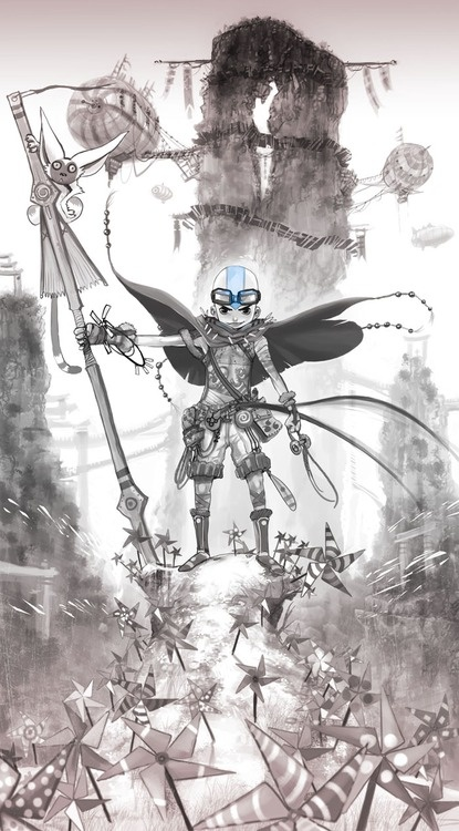 Aang all steampunked up and whatsnot. Very cool.
