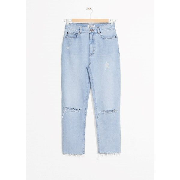 Ripped Denim Jeans (€67) ❤ liked on Polyvore featuring jeans, torn jeans, blue jeans, ripped jeans, blue ripped jeans and destructed jeans