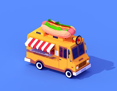 """Check out new work on my @Behance portfolio: """"Low Poly Hot Dog Car"""" http://be.net/gallery/34496085/Low-Poly-Hot-Dog-Car"""