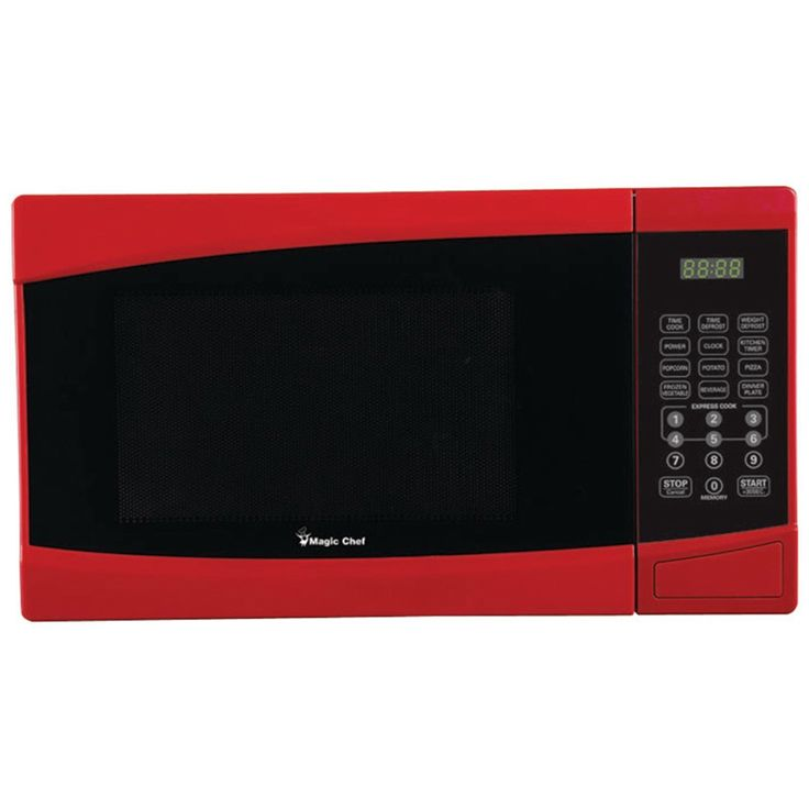 Upgrade your kitchen equipment with the .9 Cubic-ft, 900-Watt Microwave. With digital touch and a child safety lock, this red microwave has a kitchen timer, auto cook menus and auto defrost menus. The microwave has digital touch and ten power levels.