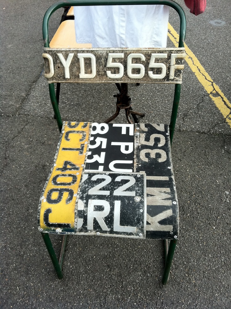 Got some old car registration plates in your Grandad's shed...make use of them!  Up Cycle them into a chair - get his permission first!