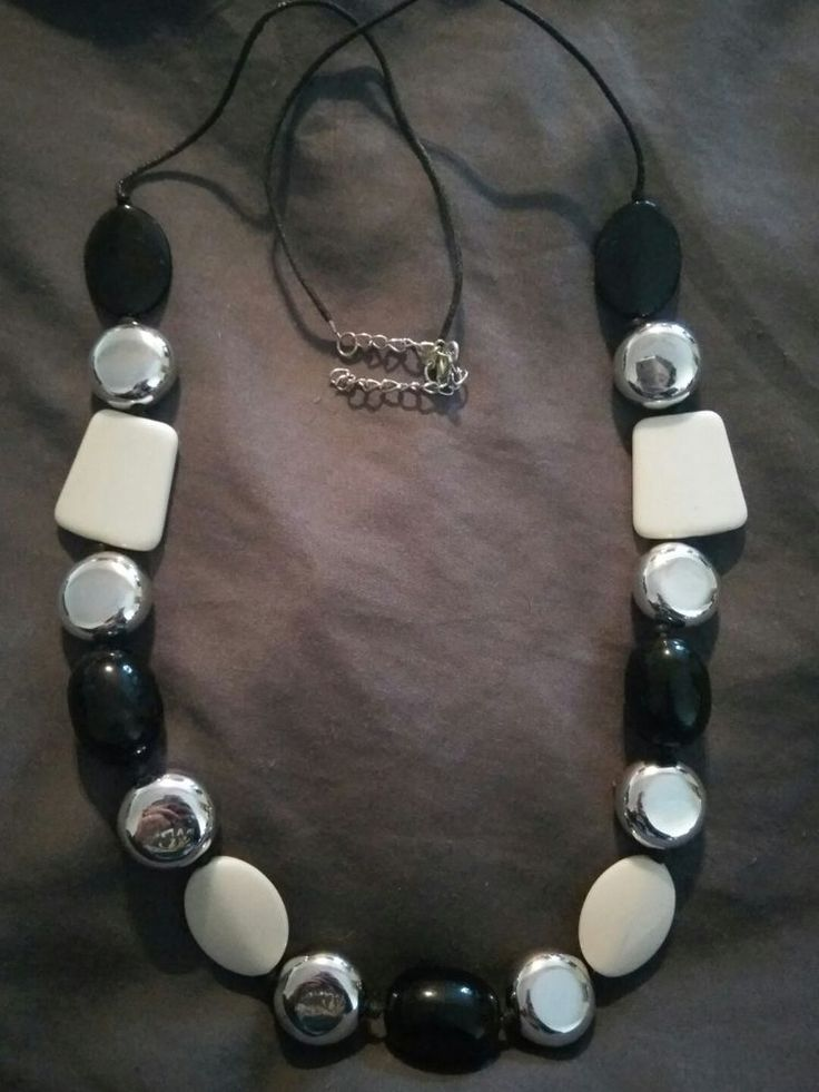 Bead necklace black , white & silver in Jewellery & Watches, Fashion Jewellery, Necklaces & Pendants | eBay!