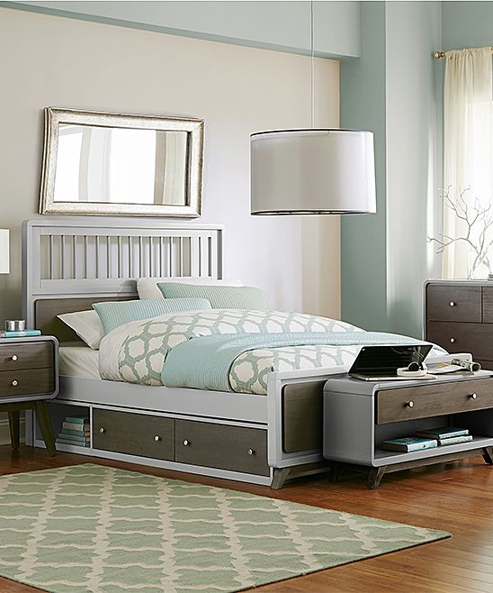 Gray East End Spindle Full Bed with Storage