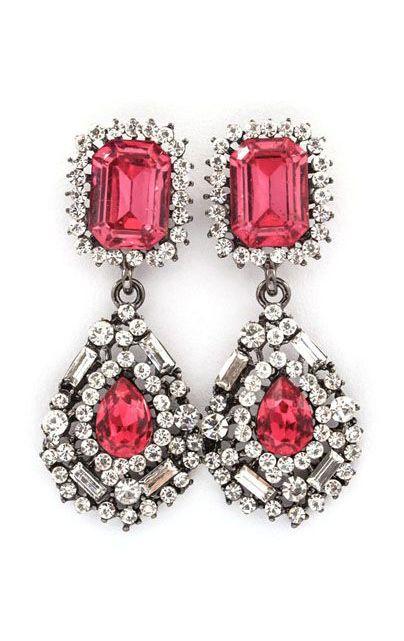 Delphine Crystal Earrings in Raspberry