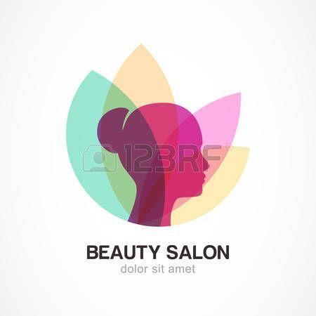 Fronte della donna in foglie di fiori. Concetto di design astratto per salone di bellezza, massaggi, estetica e benessere. Vector logo modello di progettazione. Archivio Fotografico - 36024629