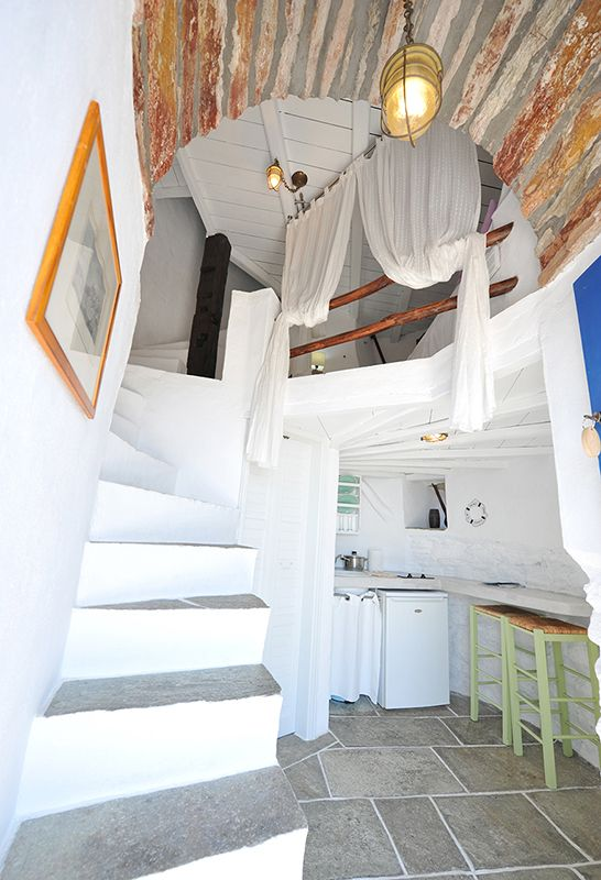 Interior of the Mill. Book this room and live a unique experience. #sifnos #windmill #windmillbellavista