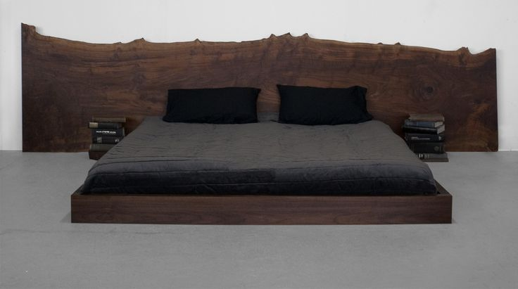 ST. PIERRE BED - The St. Pierre Bed headboard is crafted from a one-of-a-kind hardwood slab. Headboard width and height varies based on available slab dimensions. The bed frame is available in metal or wood.