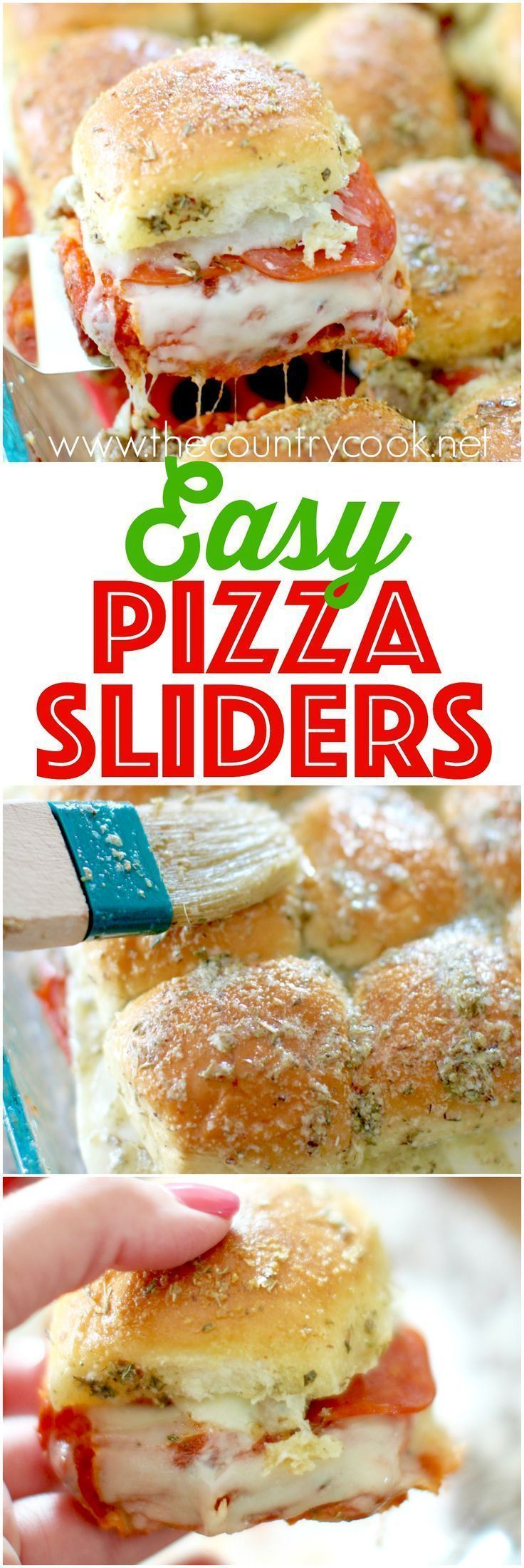 Pizza Pull-Apart Sliders recipe from The Country Cook. Cheesy, meaty filling and the most amazing herb butter topping. You can't eat just one!