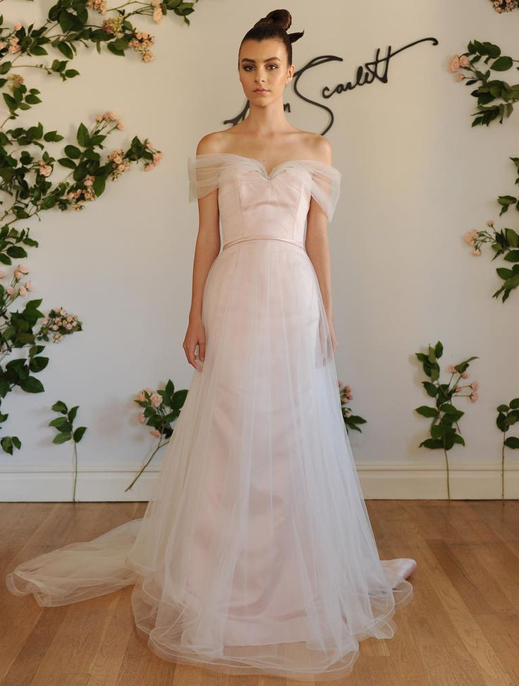 Austin Scarlett Fall 2016 blush and white dropped waist A-line wedding dress with sweetheart neckline and tulle off-the-shoulder sleeves   https://www.theknot.com/content/austin-scarlett-wedding-dresses-bridal-fashion-week-fall-2016