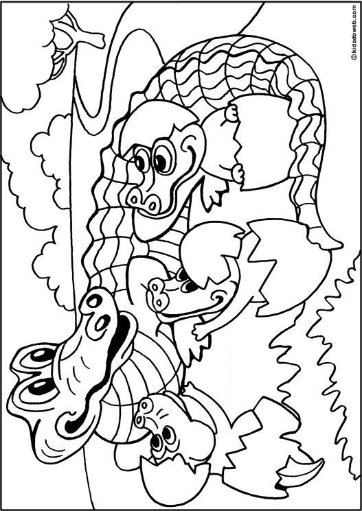 Kleurplaat krokodil met jong /coloriage-animaux-alligator