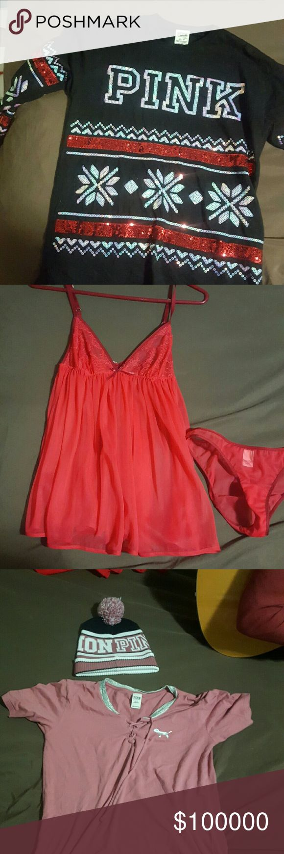 """VS bundle Pink sparkle shirt. Extra small (fits like a medium) Red lingerie. Extra small Pink """"I like you a latte"""" shirt. Medium with hat Pink sweatshirt and sweatpants. Medium PINK Victoria's Secret Other"""