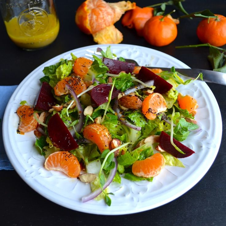 Mandarin Beet Salad with Mandarin Poppyseed Dressing  These mandarins are super sweet and juicy and compliment the earthy flavor of the beets, the nuttiness of the almonds and the crunch of the pea shoots.