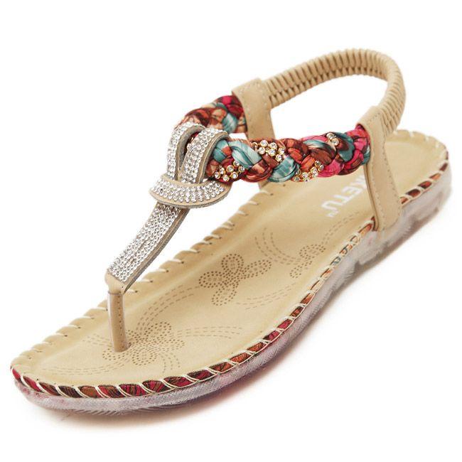 2016 Plus Size 35-41 Vrouw Zomer Sandalen Schoenen Met Strass Prachtige Diamanten Bohemian Flats Fashion Casual Vrouwen Flip schoenen