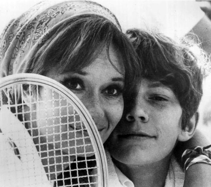 "Lea Massari and Benoît Ferreux in ""Le souffle au coeur"" directed by Louis Malle, 1971."