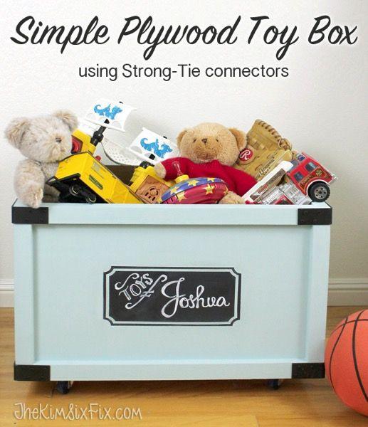 Easy Rolling Toy Box with A Chalkboard Label via www.TheKimSixFix.com